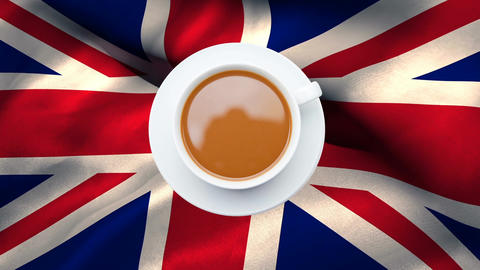 Cup of tea with British flag waving in the background Animation