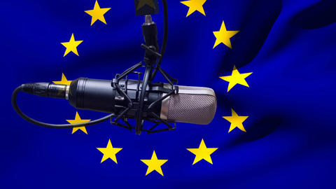 European flag waving behind microphone Animation