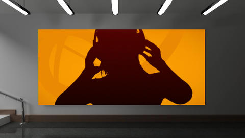 Woman dancing with headphones against Orange background Animation