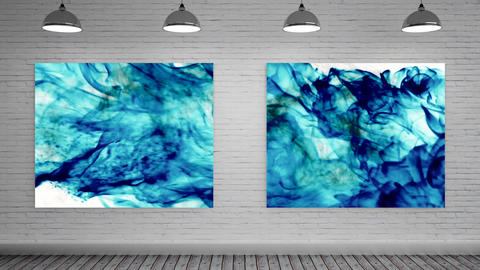 Color explosions on Canvas at art gallery CG動画