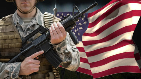 American flag and soldier with weapon Animation