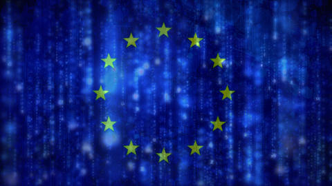 European flag with binary matrix code Animation