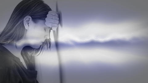 Depressed woman leaning his head on the wall 4k Animation