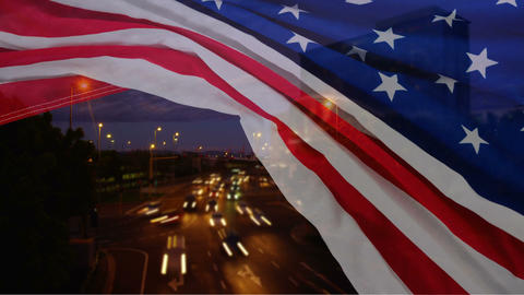 Highway time lapse with american flag Animation