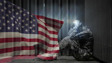 Digital animation of upset army soldier sitting opposite to American flag 4k Animation