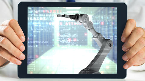 Tablet showing robotic arm Animation
