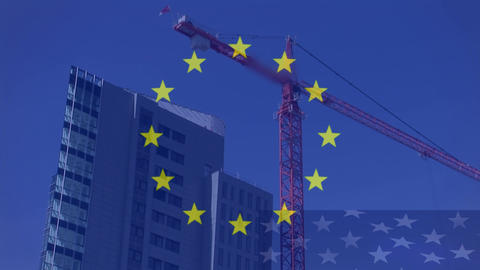 European flag with crane working on building in the background Animation