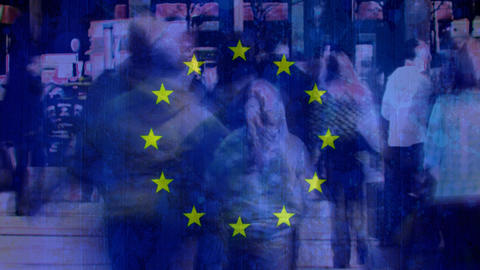 European flag with people walking in the street Animation