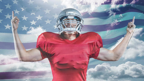 Digital Animation of victorious American rugby player rejoicing 4K Animation