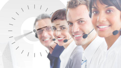 happy Callcenter team with clock Animation