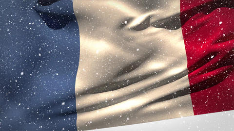 French flag waving in the snow Animation