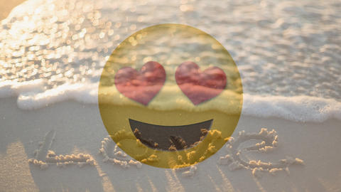 Happy smiling love smiley and love written in the sand for valentine day Animation