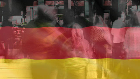 German Flag with people walking Animation