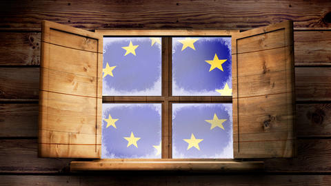 European flag floating through the window of a wooden lodge Animation
