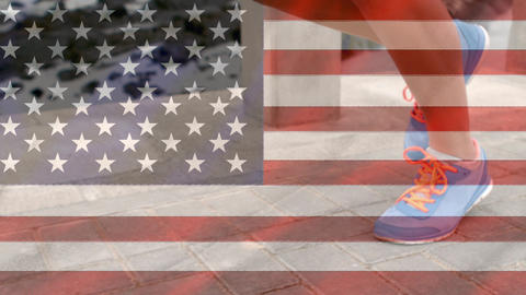 Person running and american flag Animation