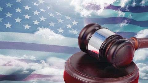 American flag with court gavel and blue sky Animation