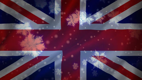 Flag of the UK and snowflakes Animation