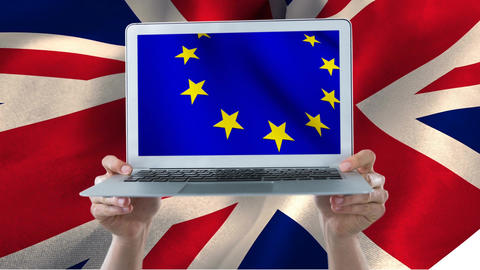 Hands holding a laptop with european flag Animation