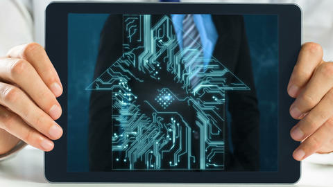 Digital Tablet showing businessman Animation