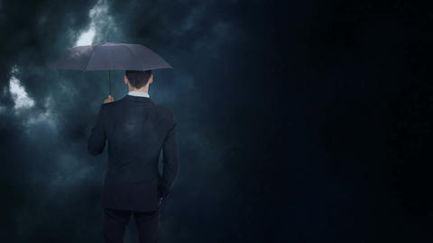 Businessman looking at storm with umbrella Animation