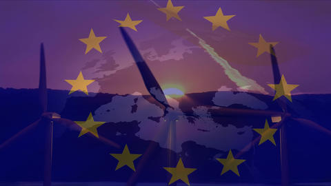Flag of the EU with windmills Animation