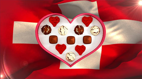 Swiss chocolate in heart shaped box Animation