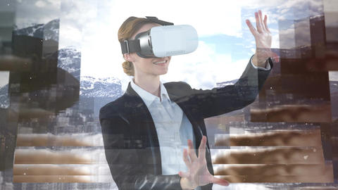 Woman using VR video Animation