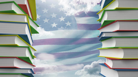 American flag and school books Animation