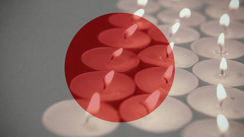 Japanese Flag with candles Animation