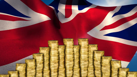 Flag of the UK behind money Animation
