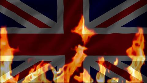 Fire burning the union-jack flag of united kingdom Animation
