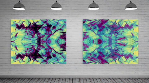 Canvas with fluid explosion at art gallery CG動画