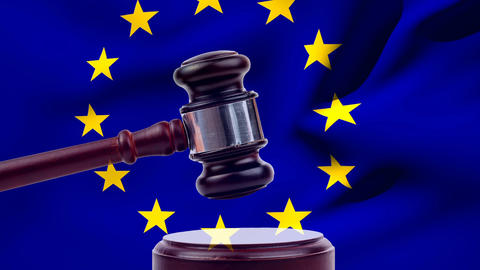European union flag with judge gavel Animation