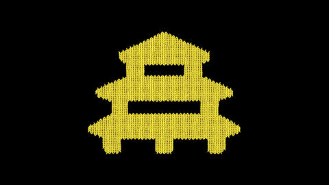 Symbol temple is knitted from a woolen thread. Knit like a sweater Animation