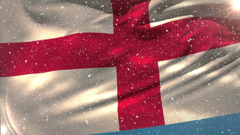 English flag waving under the snowfall Animation