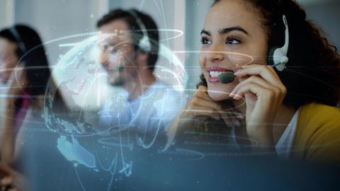 Happy woman working in Callcenter Animation