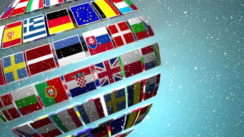 Globe made of flags of EU countries Animation