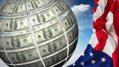 Turning Money Globe and american flag Animation