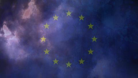 Flag of EU and lightning Animation