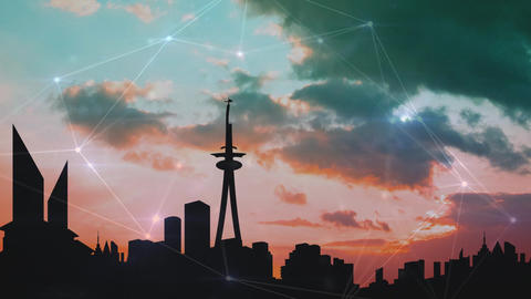 City skyline at sunset with clouds Animation