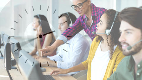 Woman colleagues working in Callcenter Animation