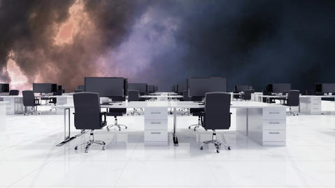 Thunder and white open space office Animation