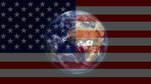 American flag and planet earth Animation