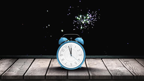 Alarm clock with animated fireworks Animation