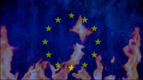 flames burning blue European flag Animation