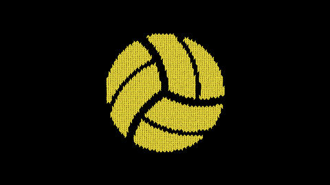 Symbol volleyball ball is knitted from a woolen thread. Knit like a sweater Animation