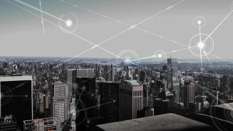 Aerial view of city skyline with data connections Animation