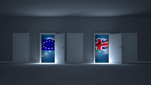 Two doors choice between europe and united kingdom Animation