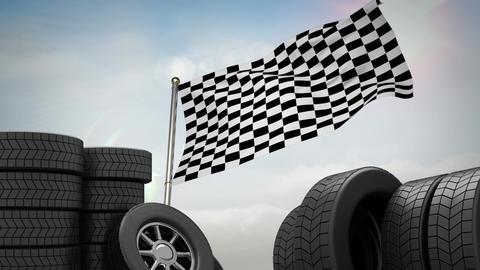 Animated flag near wheels Animation