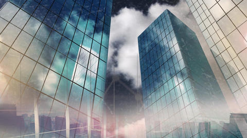 sky scrapers made of glass Animation